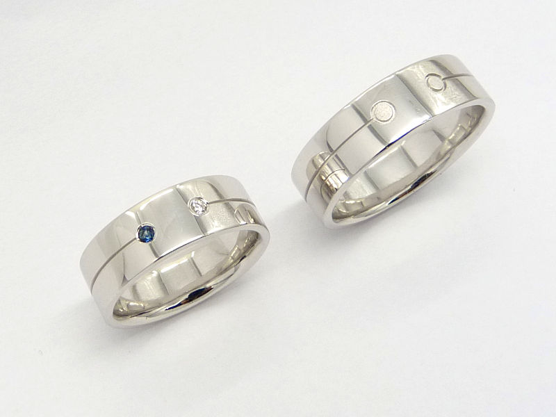 Fehérarany jegygyűrű két drágakővel01